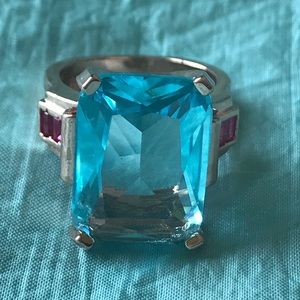 Jewelry - Rose gold with huge blue cz